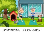 old couple doing yoga at yard... | Shutterstock .eps vector #1114780847