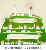 city on the green hill | Shutterstock .eps vector #111480557