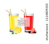 glasses with lemon juice and...   Shutterstock .eps vector #1114809203