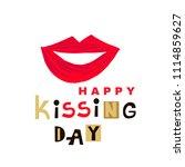 kiss me. red lips. world kiss... | Shutterstock .eps vector #1114859627
