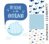 big set of cute marine elements ... | Shutterstock .eps vector #1114869977