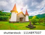 church in hatiheu village  nuku ... | Shutterstock . vector #1114897037