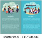 refugees airport and ships... | Shutterstock .eps vector #1114936433