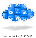 Blue cloud with applications buttons illustration, cloud computing concept - stock photo