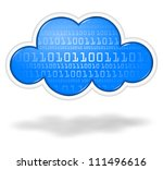 Digital binary blue cloud, cloud computing concept - stock photo