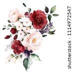watercolor burgundy flowers.... | Shutterstock . vector #1114972547