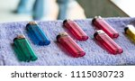 old colorful plastic gas...   Shutterstock . vector #1115030723