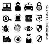 Security icon set on white background