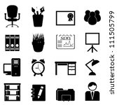 Office furniture and tools icon set - stock vector