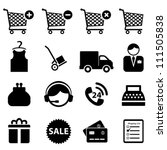 Shopping icon set on white background - stock vector