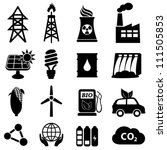 Energy icon set on white - stock vector