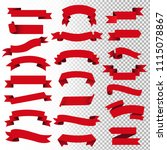 retro red web ribbon set ... | Shutterstock .eps vector #1115078867