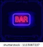 beach bar neon light sign.... | Shutterstock .eps vector #1115087237