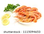 a photo of plate of raw shrimps ... | Shutterstock . vector #1115094653
