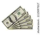 fan of one hundred dollar bills....   Shutterstock .eps vector #1115097017