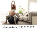pregnant woman doing relax... | Shutterstock . vector #1115101517
