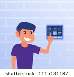 a kid using smart home control... | Shutterstock .eps vector #1115131187