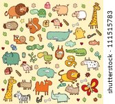 cute animals set xl in colors | Shutterstock .eps vector #111515783