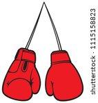 red boxing gloves vector... | Shutterstock .eps vector #1115158823