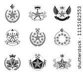 military stars emblems set.... | Shutterstock .eps vector #1115182553