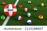 Big Soccer ball in Switzerlands national colors surrounded by smaller soccer balls in other national colors. 3D Rendering