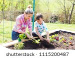 beautiful mother and her blond... | Shutterstock . vector #1115200487