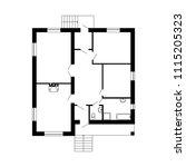 monochrome floor plan of a...   Shutterstock .eps vector #1115205323