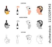 bottle  a glass of wine and... | Shutterstock .eps vector #1115209343
