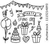 hand drawn birthday doodle... | Shutterstock .eps vector #1115214893