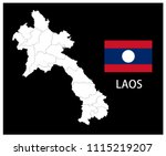 map and national flag of laos... | Shutterstock .eps vector #1115219207
