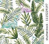 pastel green jungle palm banana ... | Shutterstock .eps vector #1115229197