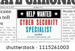 job offer   cyber security... | Shutterstock .eps vector #1115261003