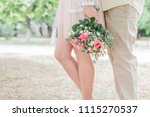 couple in love with flower... | Shutterstock . vector #1115270537