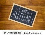 hello autumn white chalk...   Shutterstock . vector #1115281133