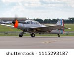 Small photo of RAF Waddington, Lincolnshire, UK - July 7, 2014: Former French Navy Morane-Saulnier MS-733 Alcyon trainer aircraft G-MSAL.