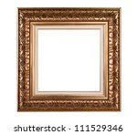 Old gold frame isolated on white. - stock photo