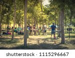 blurred large group of friend ... | Shutterstock . vector #1115296667