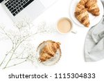 freelancer morning breakfast.... | Shutterstock . vector #1115304833