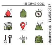 hiking and camping line icons... | Shutterstock .eps vector #1115350787