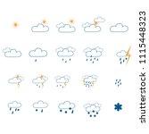 weather icon set. meteorology... | Shutterstock .eps vector #1115448323