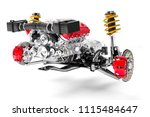 3d car chassis with motor and...   Shutterstock . vector #1115484647