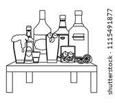 line liquor beverages bottles...   Shutterstock .eps vector #1115491877