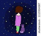 little cute cartoon girl with...   Shutterstock .eps vector #1115504387