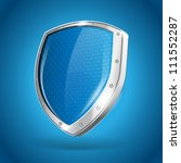 security silver steel shield vector illustration on blue background