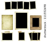 Collection of vintage photo frames or borders, isolated on white. - stock photo