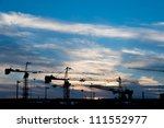 silhouette of construction... | Shutterstock . vector #111552977