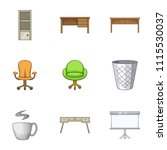 bureau icons set. cartoon set...   Shutterstock .eps vector #1115530037