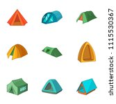 tent city icons set. cartoon...   Shutterstock .eps vector #1115530367