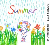 funny man in rain with umbrella....   Shutterstock .eps vector #1115538203