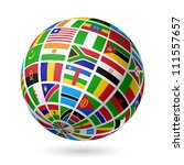flags globe. africa. vector. | Shutterstock .eps vector #111557657